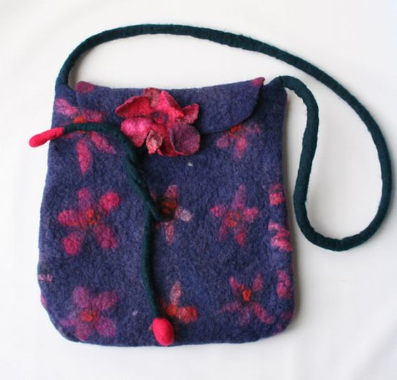 Hand Felted Purse Bag Roses and Flowers Pinks ★by FrouFrouFelt