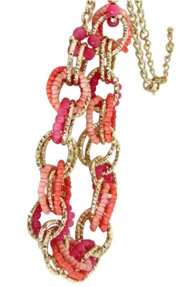 Coral Necklace With Gold Chain