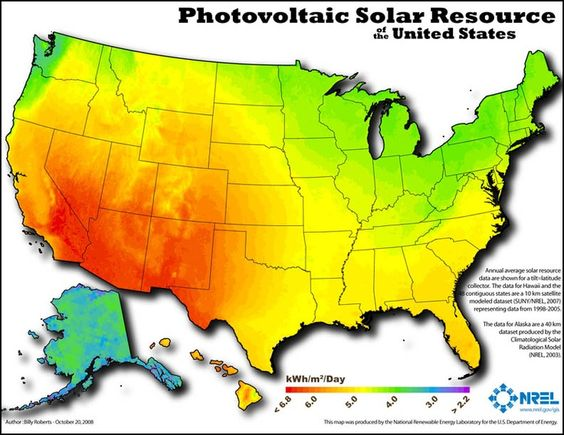The United States Solar Insulation Map An Abundance Of Renewable - Map insulation