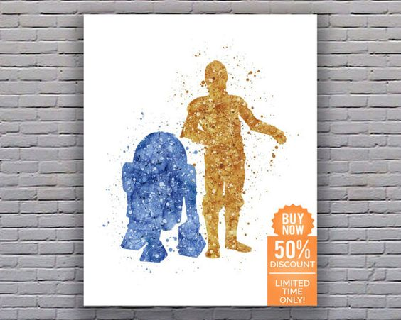 Hey, I found this really awesome Etsy listing at https://www.etsy.com/listing/232997198/r2d2-and-c3po-star-wars-print-star-wars