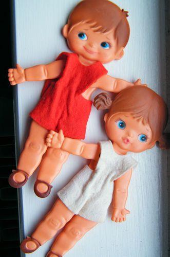 2 VINTAGE FOLDABLE 1970's FLAT DOLLS - SEBINO - SKINNY JINNY - METTI - ITALIAN | eBay
