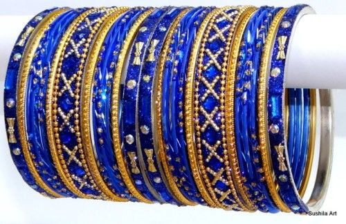 Belle Couleur Bleu Belly ethnique Indian Dance métal Bangles Bracelet Set