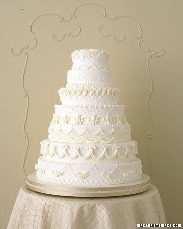 Royal icing ideas: elaborate Joseph Lambeth piping style (England, 1920s and 1930s) and techniques including fine garland, latticework, roses, bunches of grapes, overpiping stars and c-scrolls (buttercream), satin-and-lace ribbon cakes stand. Seven-Tier Classic Wedding Cake by Wendy Kromer via Martha Stewart #oldschoolbaby