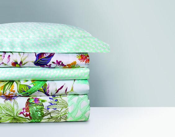 Bed Linens Ailleurs Design By Yvesdelorme Mintgreen Tropicalprint Linge De Lit Linen Bedding Bed Linen