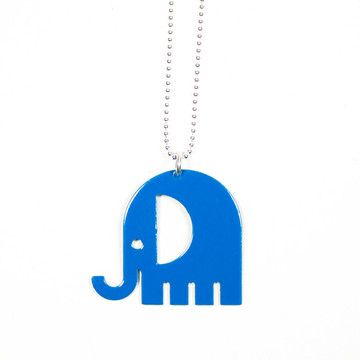 "Elephant Charm Necklace  by Melissa Stiles (""What's more charming than this charm necklace? You, wearing it. The pendant consists of an aluminum cutout with a thermoplastic finish."")"