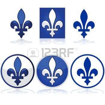 illustration brillante montrant les Québec fleur de lys en bleu et blanc photo