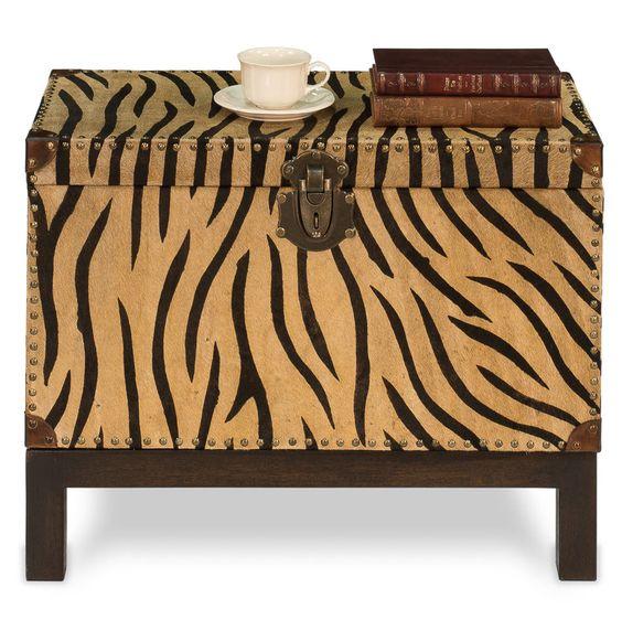 Trunk on Stand Chest Animal Print Safari w/ Brown Wood & Brass Tacks Ships Free #MartelleInternational #Contemporary