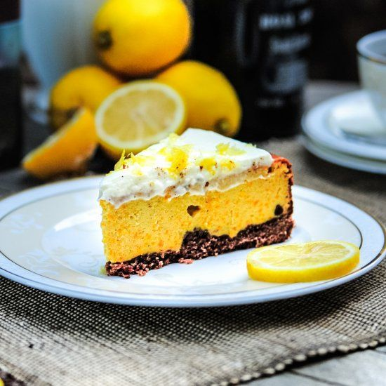 Pumpkin Cheesecake with Lemon Cream is perfect for Thanksgiving!