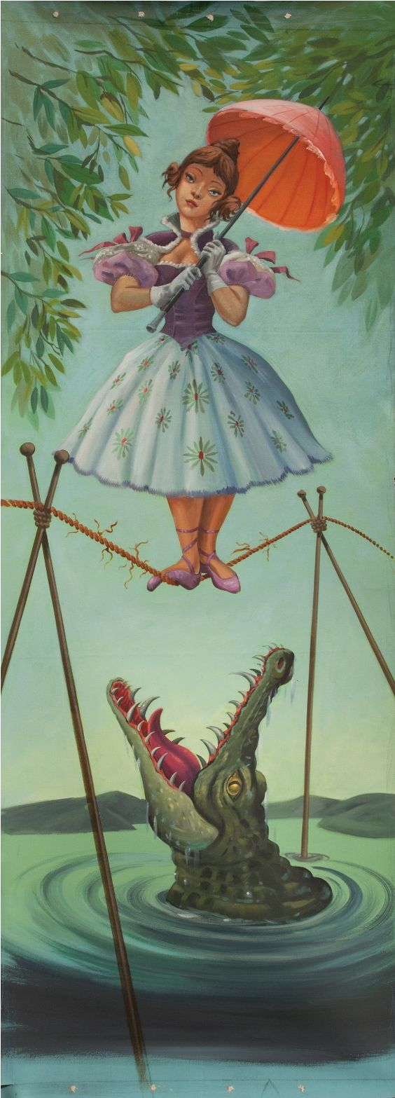 """Tightrope Walker aka Alligator Girl        Original Illustration by Harper Goff        (Fun Fact - A major highlight of Hollywood Auction 43; held Dec. 17, 2010, a private  collector walked away with this 42 x 121"""" hand painted, acrylic Disney memorabilia for the nominal price of $47,500)"""