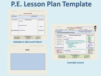 Physical Education Lesson Plan Template  Lesplan Sjablonen Pe