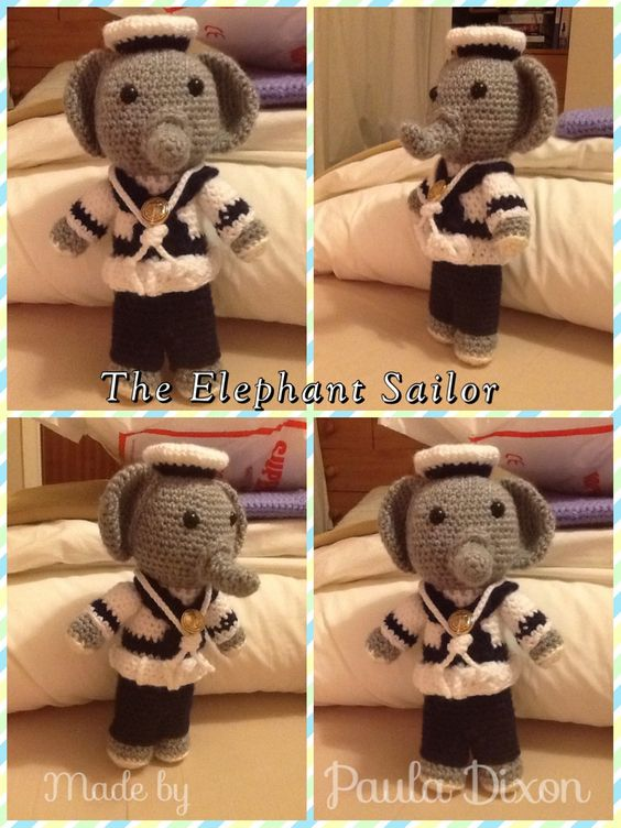 My Daughter wanted this made, now she's in the Royal Navy. ⚓️⚓️ Pattern as follows: English pattern The sailor elephant Head Grey wool 1. 6 sc in magic ring 2. 6 inc (12 sts) 3. (1 sc, 1 inc)x6 (18 sts) 4. (2 sc, 1 inc)x6 (24 sts) 5. (3 sc, 1 inc)x6 (30 sts) 6. (4 sc, 1 inc)x6 (36 sts) 7. 36 sc 8. (5 sc, 1 inc)x6 (42 sts) 9-17. 42 sc 18. (5 sc, 1 dec)x6 (36 sts) 19. (4 sc, 1 dec)x6 (30 sts) 20. (1 sc, 2 dec)x6 (18 sts) 21. 18 sc Sweater White cotton 22. 18 sc 23. (5 sc, 1 inc)x3 (21 sts) 24…