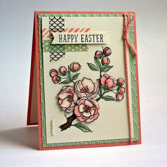 Elegant Happy Easter Flowers Fancy Christian Greeting Card Handmade in Peach Green by JanTink on Etsy
