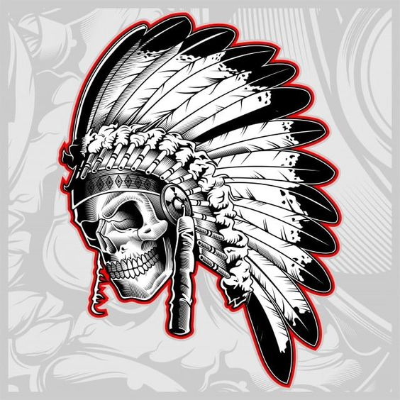 Indian Skull Face Illustration Vector Skulls Indians Feathers Png And Vector With Transparent Background For Free Download Indian Skull Indian Skull Tattoos Face Illustration