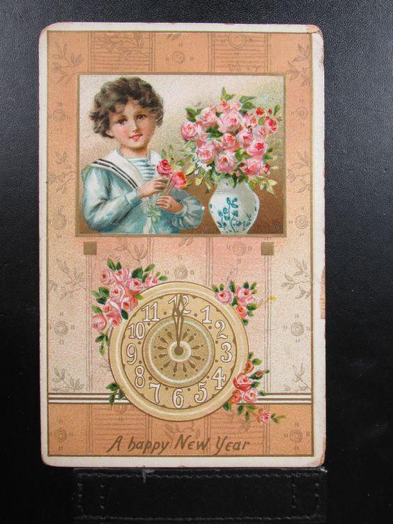 "1910 ""A Happy New Year ""  Tucks  Postcard embossed  picclick.com"