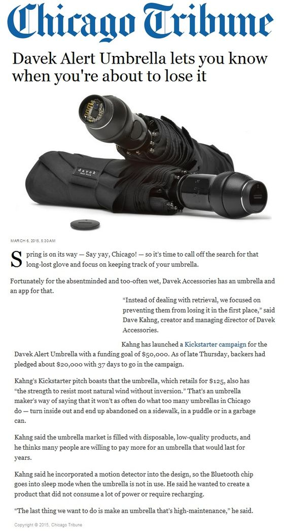 NEW Davek Alert in Chicago Tribune. It's time to call off the search for that long-lost glove and focus on keeping track of your umbrella. Davek has an app for that.