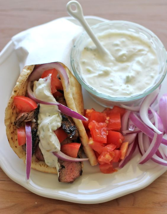 Image result for beef gyros with tzatziki sauce