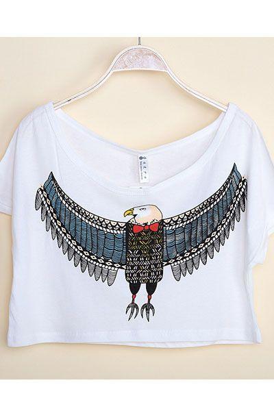 Fashion New Boat Neck Eagle Print Short Sleeves White Cotton T-shirt