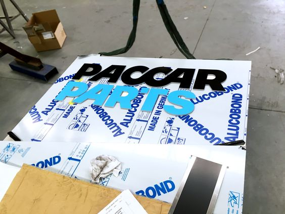 Paccar Parts Wodonga  Placing acrylic letters on pylon face. Manufactured by Rhino Signmakers http://www.rhinosignmakers.com.au