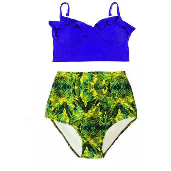 Blue Midkini Top and Wild Highwaisted High Waisted Waist High-Waist... (130 BRL) ❤ liked on Polyvore featuring swimwear, bikinis, grey, women's clothing, high waisted swimsuit, high waisted bikini, retro bikini, retro high waisted swimsuits and high waisted retro bathing suits