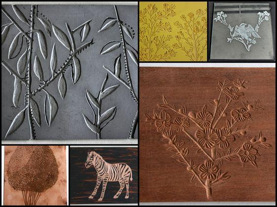 Desenho em linóleo, kapaline, vidro, cobre e madeira