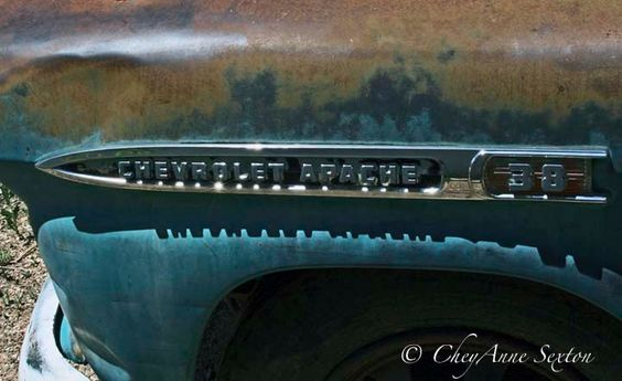 Old Chevrolet name plate Apache Chevy grunge Truck Rusty Blue junkyard find 8x10 Fine art print by NewMexicoMtnGirl on Etsy
