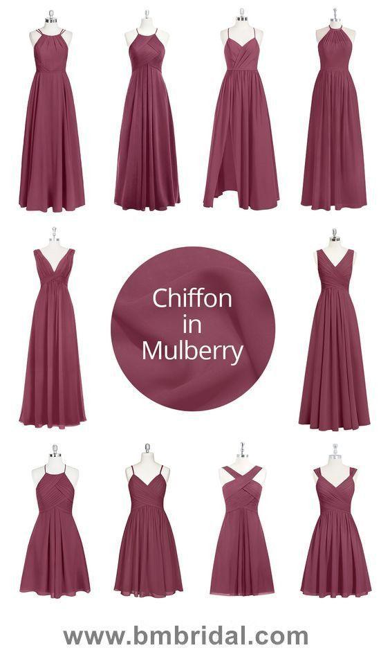 Mulberry Chiffon Lange Brautjungfer Kleider Online Brautjungfern Kleider Kleider Hochzeit Trauzeugin Kleid
