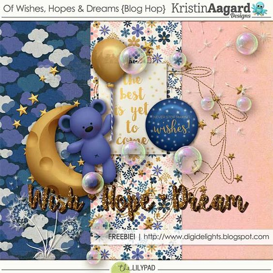 Free Mini Kit from Kristin Aagard Designs for the Lilypad's Of Wishes, Hopes and Dreams Blog Hop