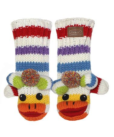 Free Crochet Pattern For Sock Monkey Mittens : Kyber Outerwear White Rainbow Sock Monkey Wool-Blend ...