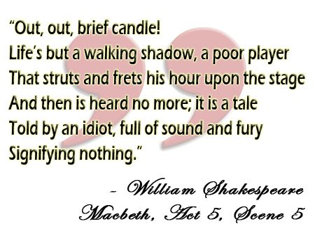 Famous Macbeth quote--but i don't always agree with Shakespeare's characters.