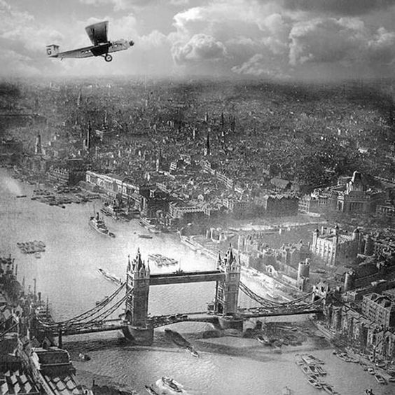Aerial photograph of The Tower of London and Tower Bridge, circa 1920