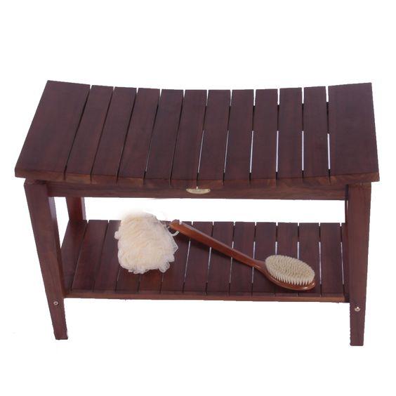 "asia teak shower bench with shelf sojourn 30"""