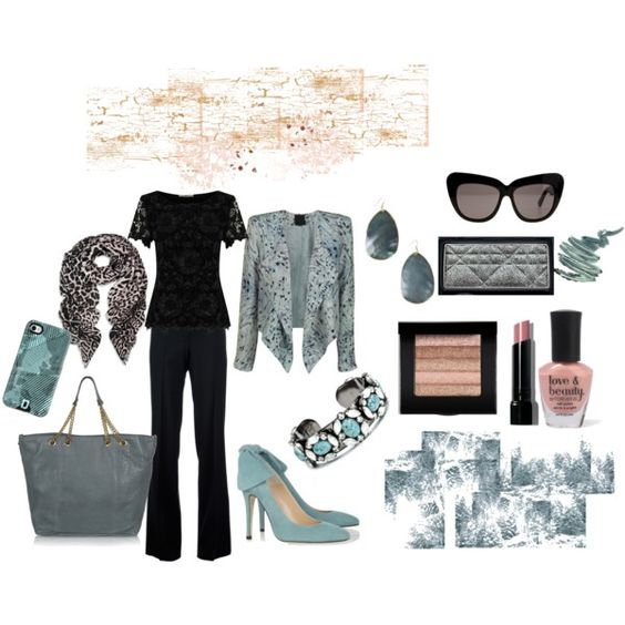 """Slate Blue and Basic Black"" by martha-hill-carter on Polyvore"
