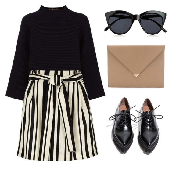 """""""Outfit 026"""" by postcardsfromliz ❤ liked on Polyvore featuring Jaeger, River Island, Jeffrey Campbell, Alexander Wang and Le Specs"""