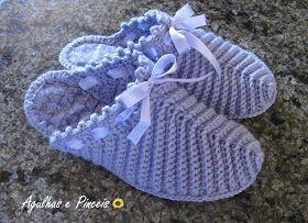 Agulhas e Pinceis: Pantufa chinelo de crochê                                                                                                                                                      Mais