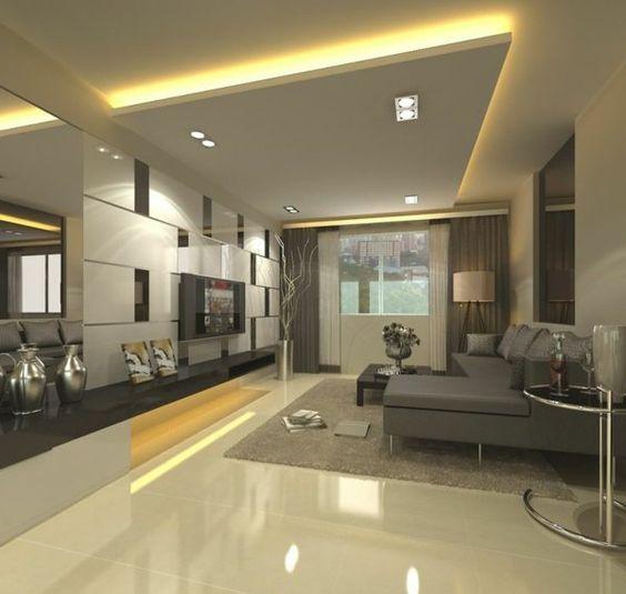 plafond suspendu, salle de séjour unique avec plancher luisant