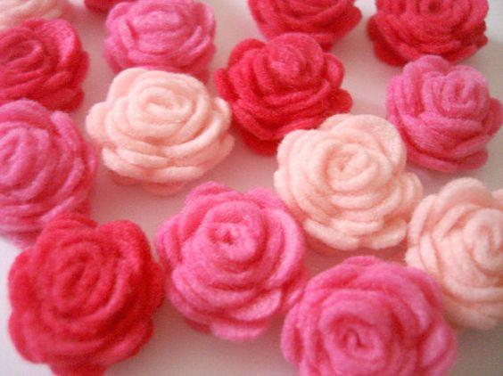 el yapımı 20 adet Set MINI CocoBella84 Rose Flower Pink Keçe: