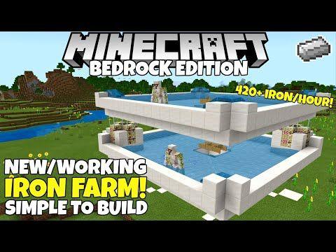 Minecraft Bedrock Iron Farm Simple Working 420 Iron Hour 1 16 Nether Update Tutorial Youtube Minecraft Iron Minecraft Farm Minecraft Architecture