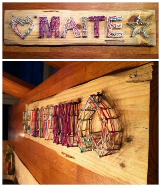 I made a Namesign with Heart and Star for my Daughters Bedroom. Old Pallet Sanded till 220 Grid. All Natural Edges and Markes from Former live still there. Submitted by: Jann Antons !