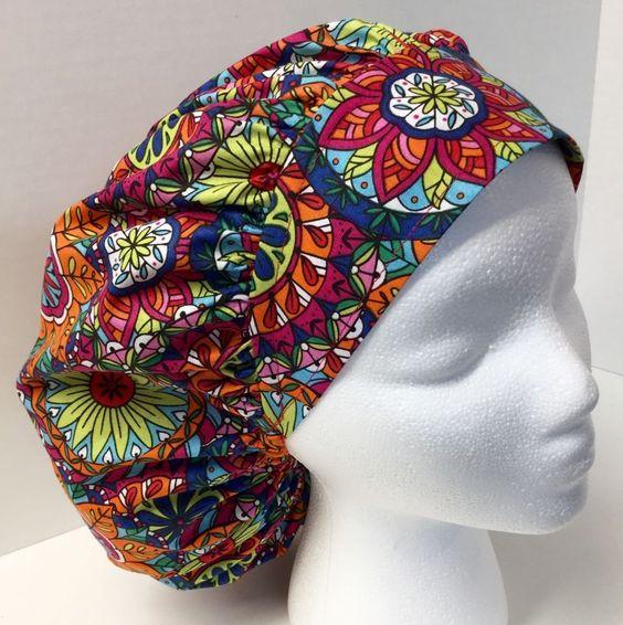 Bright Floral Medical Bouffant OR Scrub Cap Surgery Hat #Handmade