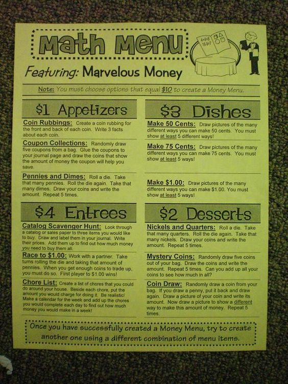 Super cute math ideas!  Love the Menus!  Could be re-worked so it would work for social studies.