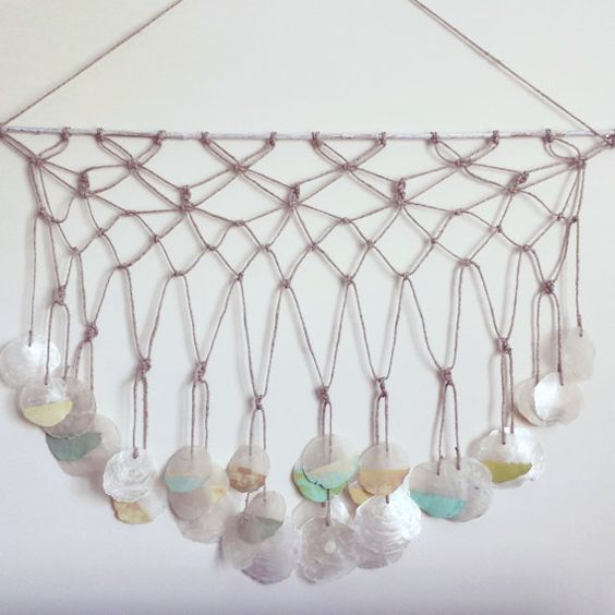 Macrame wall hanging with painted capiz shells by ADesignJourney, $50.00