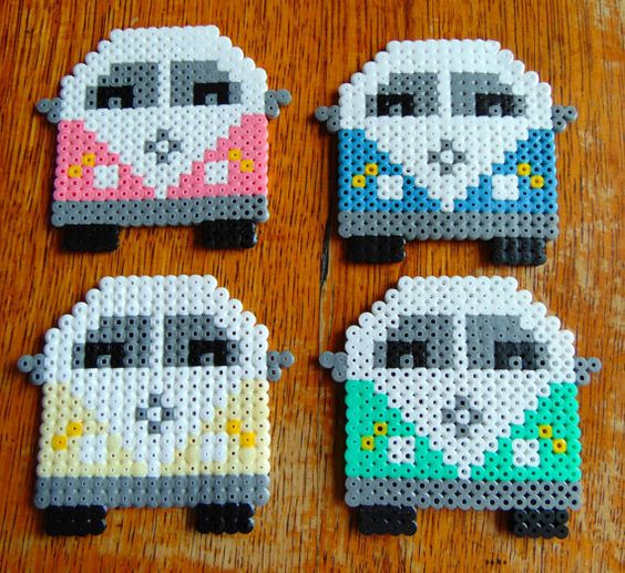 VW Mini Van Hama Perler Bead Coasters Set of by BeautyAndTheBeadUK