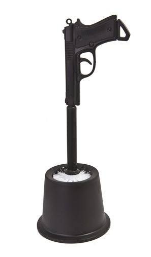 HANDGUN TOILET BRUSH! This will get Cliffy wanting to do house work in no time! Just think if Dyson did this too?!? I would never have to vacuum again