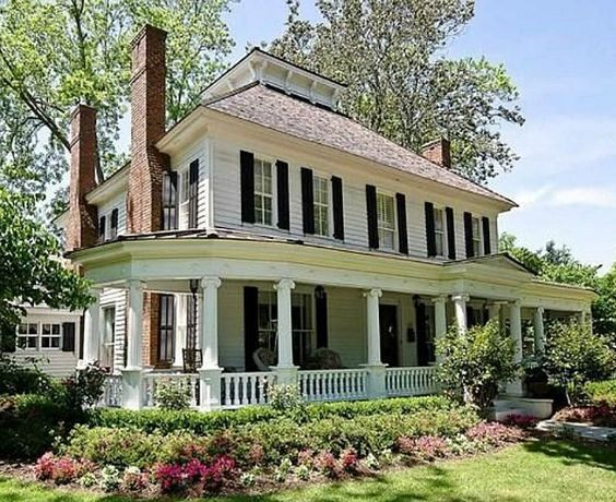 Beautiful wrap around porches and southern style on pinterest for Southern homes with porches