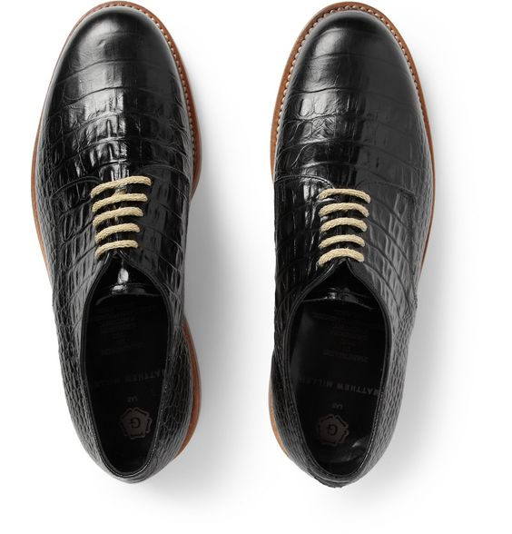 London Collections. Men - Matthew Miller x Grenson Crocodile-Embossed Leather Derby Shoes MR PORTER