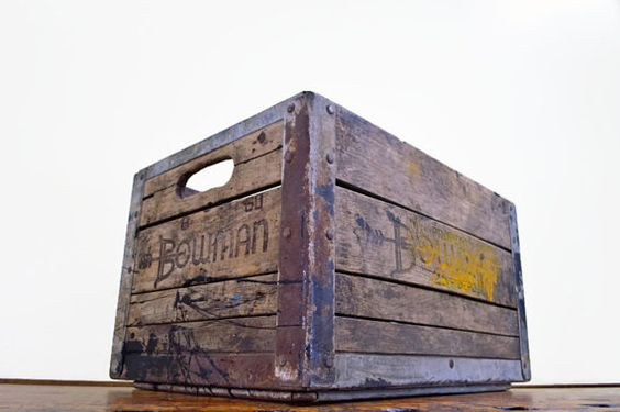 Vintage wood crate bowman crate antique milk crate wooden crate wood box 1960s decorative - Decorative wooden crates ...