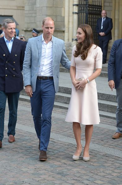 Prince William Duke of Cambridge and Catherine Duchess of Cambridge meet the public as they visit Truro Cathedral on September 1 2016 in Truro United...