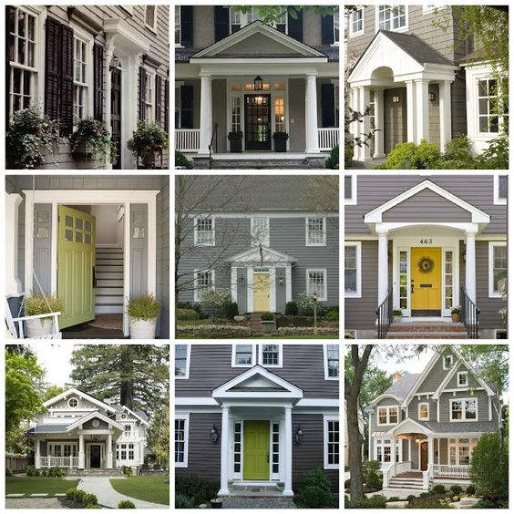 Exterior yellow door a house entry pinterest home yellow and grey - Grey painted house exteriors model ...