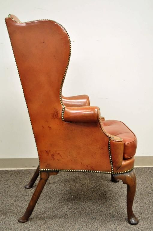 antique 19th century burnt orange distressed leather english wingback chair 3