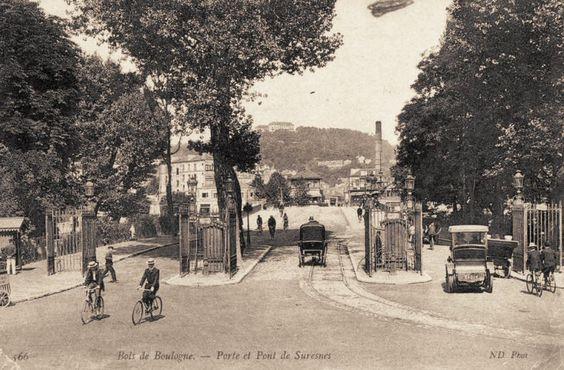 La porte et le pont de Suresnes, une des entrées du Bois de Boulogne par l'ouest, vers 1900.
